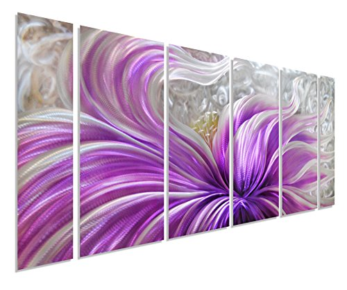 - Pure Art Purple Blossoms Flower Metal Wall Art Painting, Large Floral Contemporary Decor, 3D Wall Art for Modern and Contemporary Decor, 6-Panels Measures 24