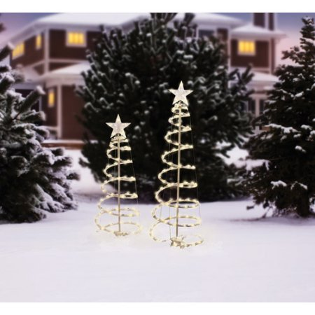 Holiday Time 2pk Light Up Clear Spiral Trees by Holiday ()