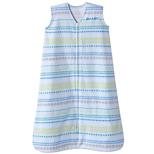 Halo Sleepsack Cotton Wearable Blanket, Blue Geometric Stripes, Small