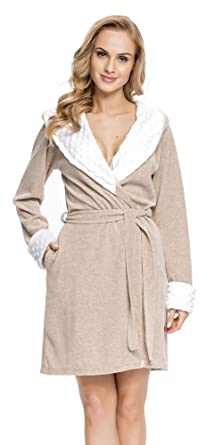 dn-nightwear Mujer Albornoz/Bata SDB.7059 con Capucha Beige Melange X-