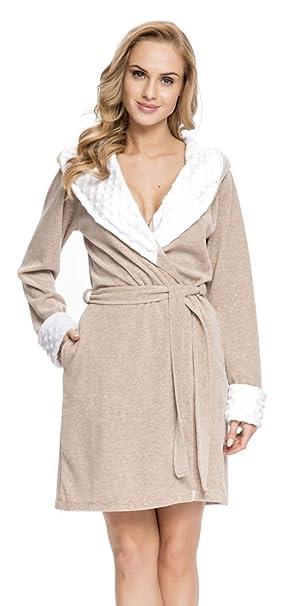 dn-nightwear Mujer Albornoz/Bata SDB.7059 con Capucha Beige Melange X-Large: Amazon.es: Ropa y accesorios