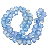 8 Inch Half Strand/64 Pcs/Wholesale Faceted AAA Blue Chalcedony Briolette Pear Beads/7x10mm Each/Sku-Ms85