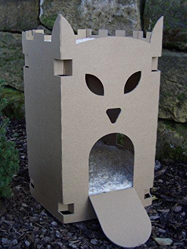 Arteco-4pfotende-Niche-pour-chat-en-carton-en-forme-de-forteresse