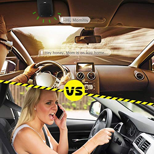 Slopehill in-car Bluetooth Speakerphone, Hands-Free Visor Bluetooth Speaker, Automatic Cellphone Connection for Safe Drive Talking (Black, Back Clip Design) by slopehill (Image #6)