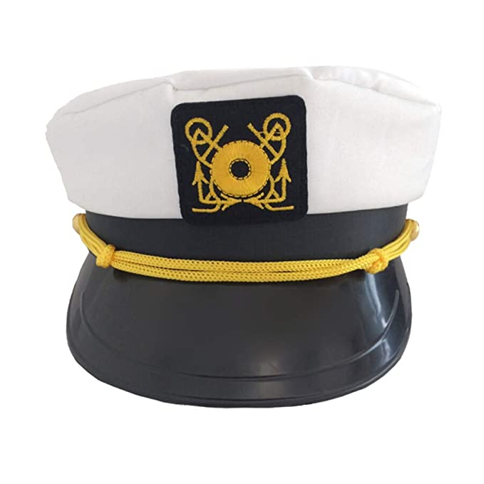 218110fa135f4 AutumnFall White Yacht Captain Navy Marine Skipper Ship Sailor Military  Nautical Hat Cap Costume Adults Party Fancy Dress (White)  Office Products