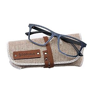 SOOLALA Mens Super Lightweight Wayfarer Clear Lens Eyeglass Frame Reading Glasses, +3.0, Blue