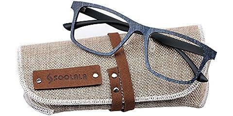 SOOLALA Mens Super Lightweight Wayfarer Clear Lens Eyeglass Frame Reading Glasses, +2.25, Blue - Eyeglasses Light Blue Frame