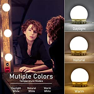 Vanity Mirror Lights Kit,Golspark Dimmable Hollywood Style Lights for Mirror,10 LED Light Bulbs for Makeup Vanity Table Set in Dressing Room,Lighting Fixture Strip with USB Charging Cable for Bathroom