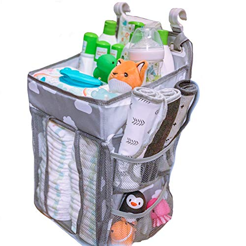 Malak Nursery Baby Crib Caddy Organizer Hanging Portable Fit All Crib Sizes Storage Organizer for All Baby Essentials Essentials, Toys & Lotions, Perfect Baby Shower Gift, Diapers etc.