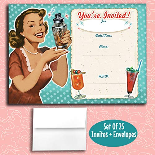 50s Party Invitations (Happy Retro Girl Fill in Invitations, 25 Invites with Envelopes. Retro 1950s Style is Great for Any Occasion, Birthday, Engagement, Anniversary, Cocktail Party, Dinner)