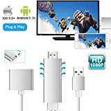 MHL to HDMI Video Cable Adapter for iOS/Android Phones, 1080P HD Mirroring Digital AV Cable HDTV Adapter MHL USB Cable Compatible for TV/Projector/Monitor