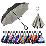 AmaGo Inverted Umbrella - Reverse Double Layer Umbrella, C-Shape Handle & Self-Stand to Spare Hands, Inside-Out Fold to Keep Cars & Driver Dry, Carrying Bag Easy Traveling