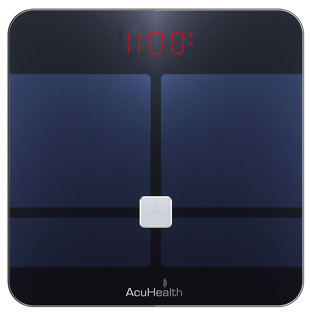 AcuHealth Body Fat Scale and Fitness Analyzer – Your Personal Health Monitor with Bluetooth Connectivity with iOS Android Smartphone and Tablet Devices Analyzes 10 Heath Parameters Black