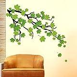 Decals Design 'Green Autumn Leaves Branch' Wall Sticker (PVC Vinyl, 50 cm x 70 cm, Green)