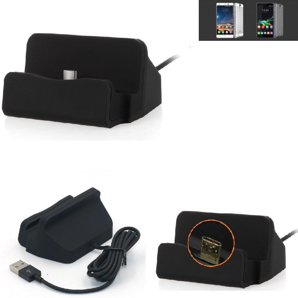 KS-Trade Base de Carga para Oukitel K6000 Pro Micro USB Cargador suporto estación de acomplamiento Mesa, Negro
