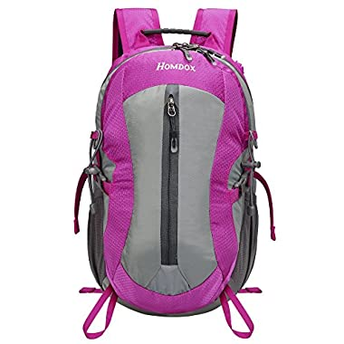 Homdox 25L Unisex Outdoor Sports Backpack with Lifesaving Whistle and Waterproof Covers, Perfect for Hiking Climbing Camping Travelling (Rose Red)