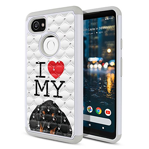 FINCIBO Case Compatible with Google Pixel 2 XL (6 inch) 2017, Dual Layer Hybrid Protector Case Cover TPU Rhinestone Bling for Pixel 2 XL 2017 (NOT FIT Pixel 2 5 inch) - I Love My Dachshund Puppy Dog