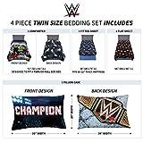 Franco Kids Bedding Soft Comforter and Sheet Set, 4 Piece Twin Size, WWE Super Stars
