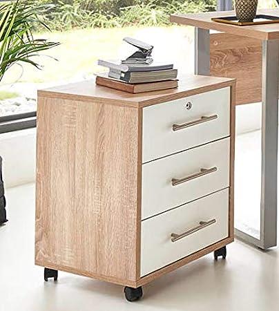 BMG-Moebel.de Büromöbel komplett Set Arbeitszimmer Office Edition Mini in Sonoma Eiche/Weiß Matt (Rollcontainer)