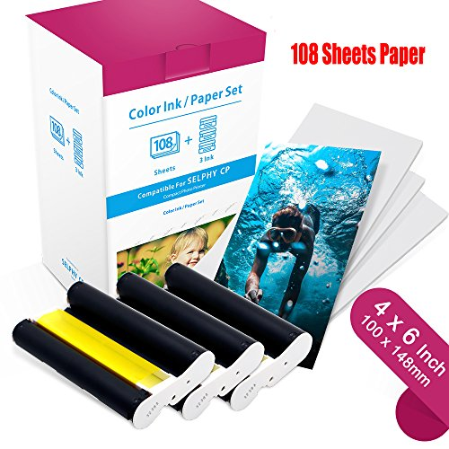 Compatible Canon KP-108IN KP108 3 Color Ink Cartridges and 108 Sheets Paper Set, 6