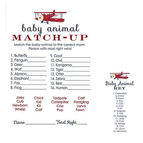 (Airplane Animal Match Baby Shower Game Set of 25)