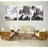 Spirit Up Art Large Chinese Painting of Landscape on Canvas Print Stretched and Framed,Ready to Hang, Modern Home Decorations Wall Art set of 3 Each is 40*60cm #D09-284