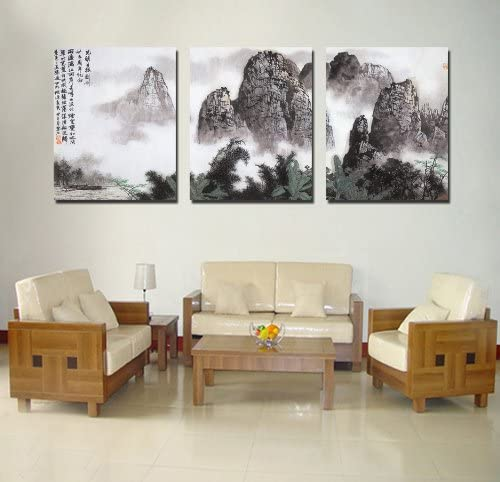 Spirit Up Art Large Chinese Painting of Landscape on Canvas Print Stretched and Framed,Ready to Hang