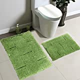 Lime Green Bathroom Mat Fancy Collection 2pc Solid Microfiber Bath Mat Set (Lime Green)