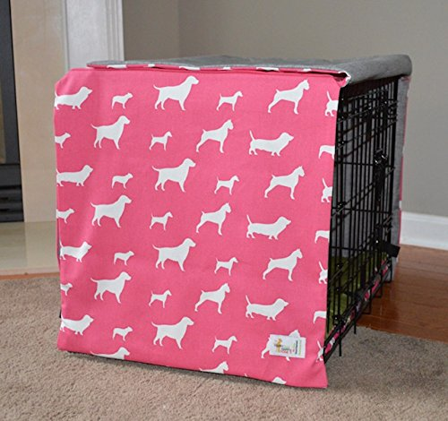 Happy Dog Happy Home Pink Indoor/Outdoor Crate Cover for Dogs (XXL 48x30x33)