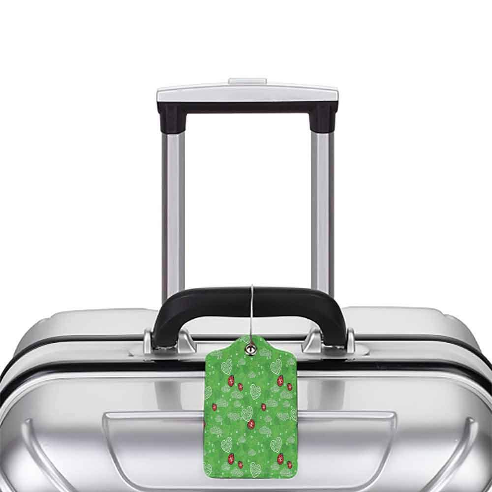 Small luggage tag Ladybugs Decorations Collection Hearts Ladybug and Leaves Natural Environment Ornament Ladybug Leaf Swirl Image Quickly find the suitcase Green Red W2.7 x L4.6