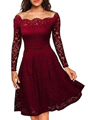 Antique Lace Dress - Antique Style Women's Elegant Crew Neck Long Sleeve Grocet Lace Pleated Bodycon Gown Cocktail Party Club Evening Swing Dress Wine Red M