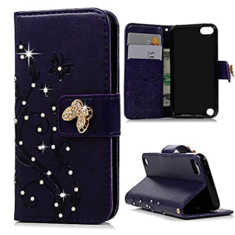 Touch 6 & 5 Case - Mavis's Diary 3D Handmade Wallet Bling Crystal Diamonds Fashion Embossed Butterfly Floral PU Leather & Hand Strap Card Sets Magnetic Cover for iPod Touch 5th/6th Generation - - Juicy Full Diamond