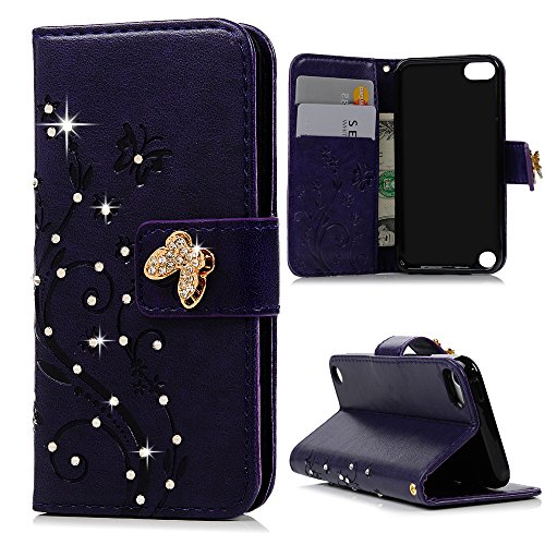 Touch 6 & 5 Case - Mavis's Diary 3D Handmade Wallet Bling Crystal Diamonds Fashion Embossed Butterfly Floral PU Leather & Hand Strap Card Sets Magnetic Cover for iPod Touch 5th/6th Generation - Purple (Lucky Embossed Belt)