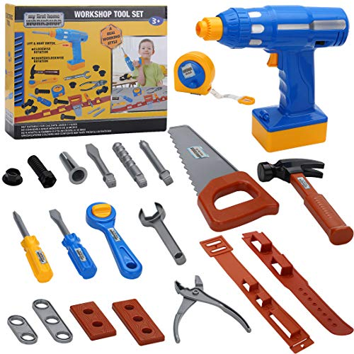 Pakoo Kids Tool Set Toddle Toys 48 PCS,Educational Pretend Play Children Toys,Toy Construction Tools with Battery Operated Cordless Drill,Tape Measure, Screwdriver, Toy Hammer, Nuts and Bolts