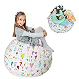 "Stuffed Animal Storage Bean Bag XXL – 100% Cotton Canvas Plush Toy Organizing Bag, Machine Washable (38"",Hearts) Comfortable & Soft Seat for Nursery 