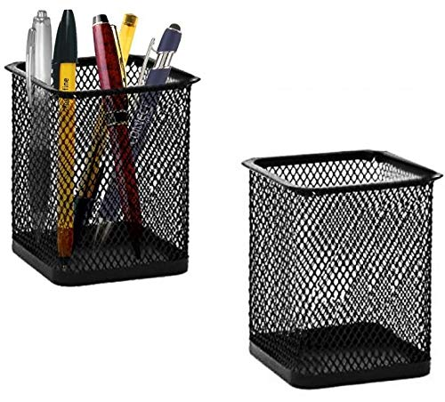 Square Metal Pen - Black Mesh 2 Pcs Square Pencil Cup Holder Desk Organizer - Desk Accessory. by Mega Stationers