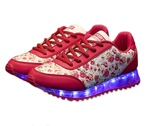 Catkit Unisex Uomo Donna Led Luminoso Moda Fiore Stampa Scarpe Sportive Lampeggianti Sneakers Rosse