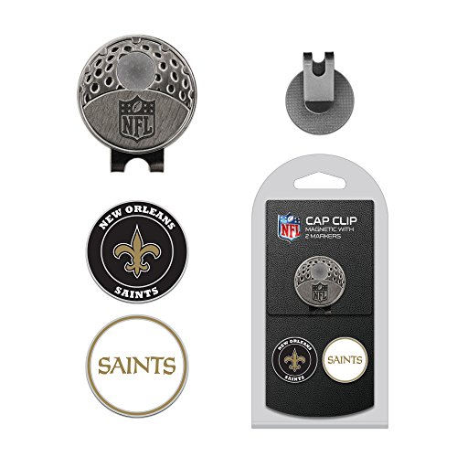 Team Golf NFL New Orleans Saints  Golf Cap Clip with 2 Removable Double-Sided Enamel Magnetic Ball Markers, Attaches Easily to Hats