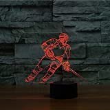 3D Ice Hockey Player Night Light Touch Table Desk Optical Illusion Lamps 7 Color Changing Lights Home Decoration Xmas Birthday Gift