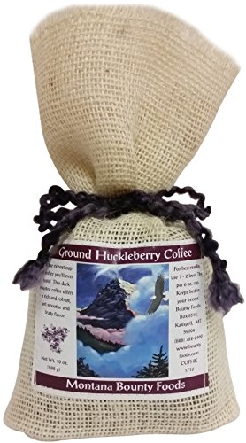 Huckleberry Dessert Ground Coffee from Montana Bounty Foods All Natural In Rustic Burlap Bag for that All American Breakfast (Huckleberry Coffee, 10oz)