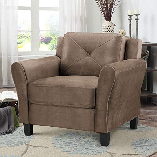 Lifestyle Solutions KD Rolled-Arm Collection Grayson Micro-Fabric Chair, Brown, Brown