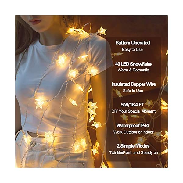 Luci Natalizie, DIKI Catene Luminose LED Star Luci di Natale Camera da letto 2 modalità 5M 40 LED Decorazioni natalizie Holiday Fairy Home, Indoor e Outdoor 4 spesavip