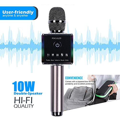Portable Wireless Bluetooth Karaoke Microphone with LED lights, Built-in HIFI Dual-Speaker 10W and 2600mAH battery capacity, Handheld karaoke Mic Speaker Machine for Home KTV Birthday Party by FOCULED (Image #1)