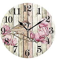 Wamika Round Wall Clock Flowers Hummingbird Vintage Wooden Clock Silent Non Ticking Wall Decorative,Birds Flower French Country Romantic Chic Clocks 10 Inch Battery Operated Quartz Desk Clock for Home