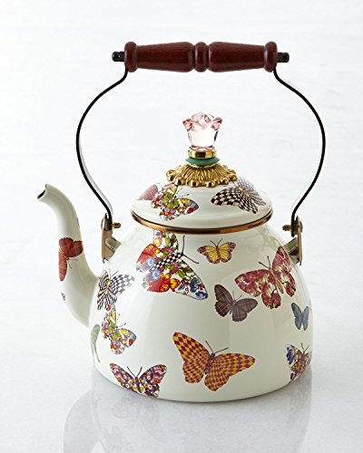 Mackenzie-Childs Butterfly Garden Enamel Tea Kettle 2 Quart