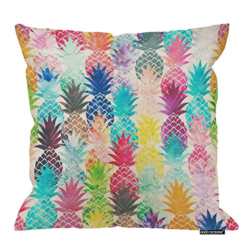 HGOD DESIGNS Pineapple Pillow Cover,Beautiful Watercolor Pineapples Cotton Linen Cushion Pillow Cases Square Standard Home/Sofa Decorative for Men/Women 18x18 inch ()
