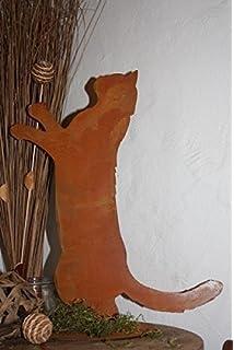 Gartenstecker Katze Maus Metall Rost rostige Gartendekoration Edelrost