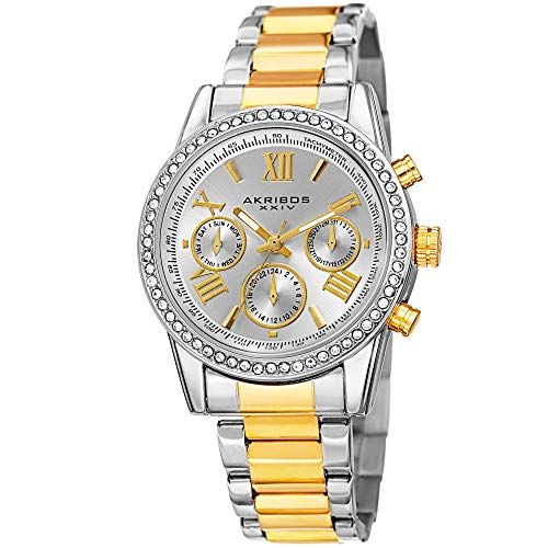 (Akribos XXIV Women's Crystal Accent Watch - Multifunction 3 Subdials Day, Date and GMT On Stainless Steel Braclet - AK872)