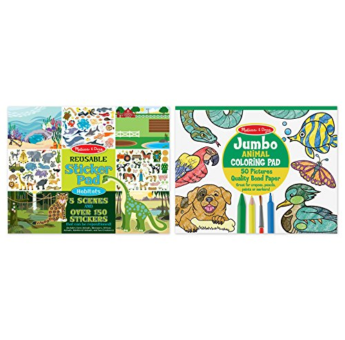 Sticker Books Jumbo (Melissa & Doug Sticker and Jumbo Coloring Pads Set: Animals - 150+ Stickers, 50 Coloring Pages)