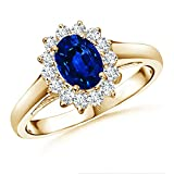 Princess Diana Inspired Natural Blue Sapphire Ring with Diamond Halo